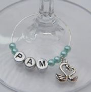Double Swans Personalised Wine Glass Charm